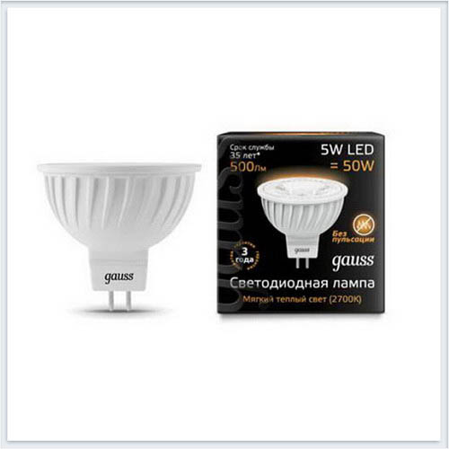 Лампа gauss светодиодная MR16 5W GU5.3 AC220-240V 2700K матовая - 101505105