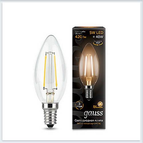 Лампа светодиодная свеча E14 5W 2700К gauss Филамент 103801105 - купить лампу