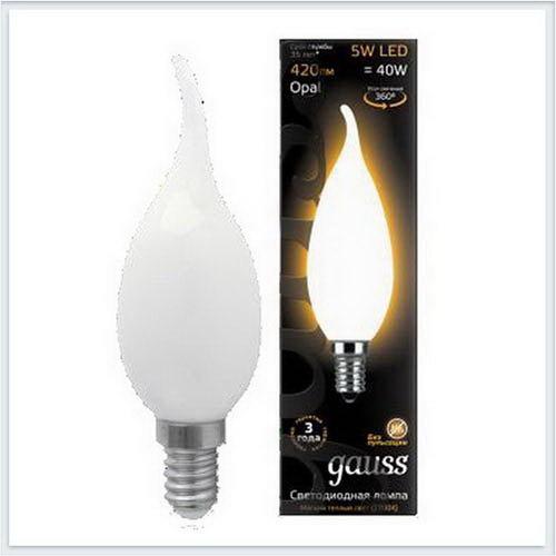 Лампа светодиодная свеча на ветру OPAL E14 5W 2700К gauss Филамент 104201105 - купить лампу