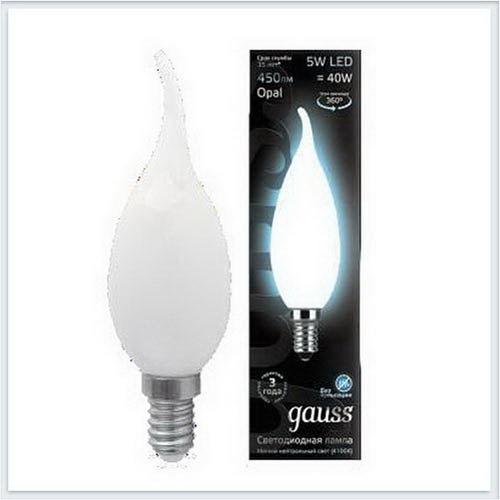 Лампа светодиодная свеча на ветру OPAL E14 5W 4100К gauss Филамент 104201205 - купить лампу