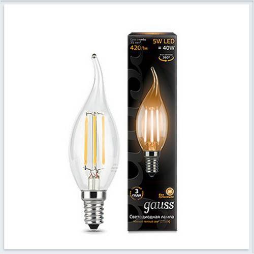 Лампа светодиодная свеча на ветру E14 5W 2700K gauss Филамент 104801105 - купить лампу