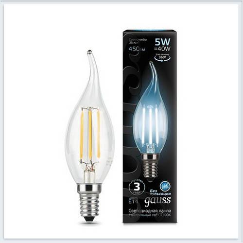 Лампа светодиодная свеча на ветру E14 5W 4100K gauss Филамент 104801205 - купить лампу