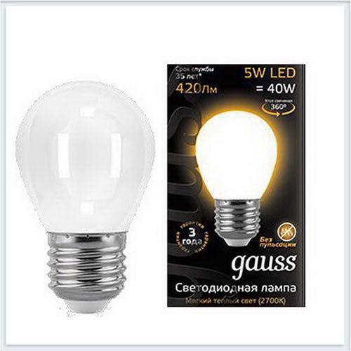 Лампа светодиодная шар матовый E27 5W 2700K gauss Филамент 105202105 - купить лампу