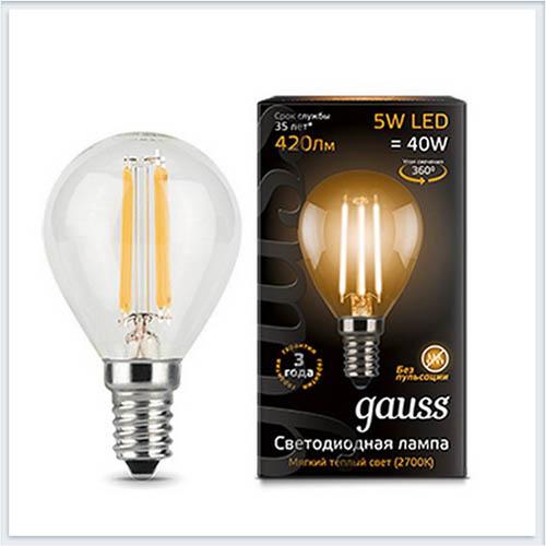 Лампа светодиодная шар E14 5W 2700K gauss Филамент 105801105 - купить лампу