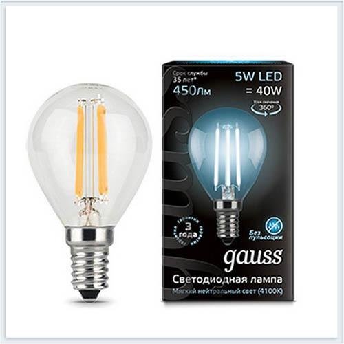 Лампа светодиодная шар E14 5W 4100K gauss Филамент 105801205 - купить лампу