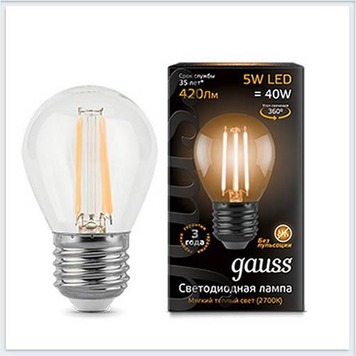 Лампа светодиодная шар E27 5W 2700K gauss Филамент 105802105 - купить лампу