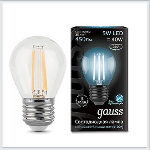 Лампа светодиодная шар E27 5W 4100K gauss Филамент 105802205 - купить лампу