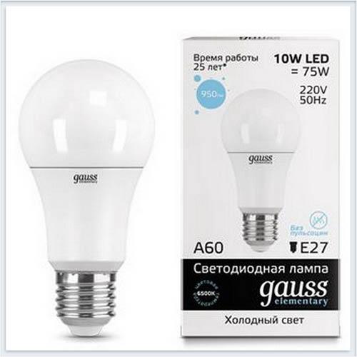 Лампа светодиодная 10W E27 6500K gauss Elementary 23230 - купить лампу