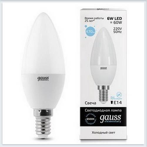 Лампа светодиодная свеча 6W E14 6500K gauss Elementary 33136 - купить лампу