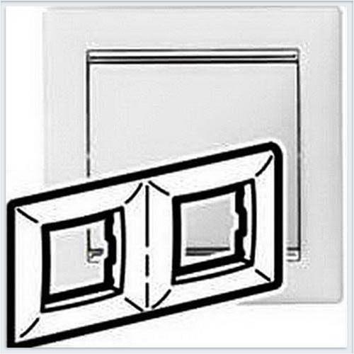Рамка 2-ая белая вставка серебро Legrand Valena 770492