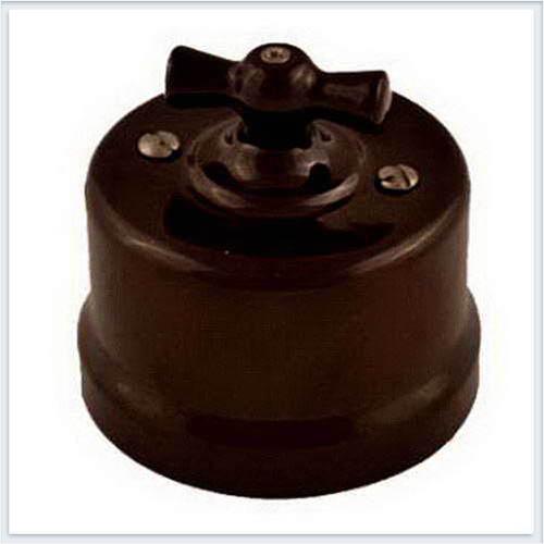 Bironi перекрестный выключатель фарфор, цвет коричневый B1-203-02