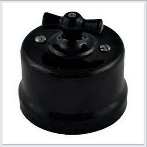 Bironi перекрестный выключатель фарфор, цвет черный B1-203-03