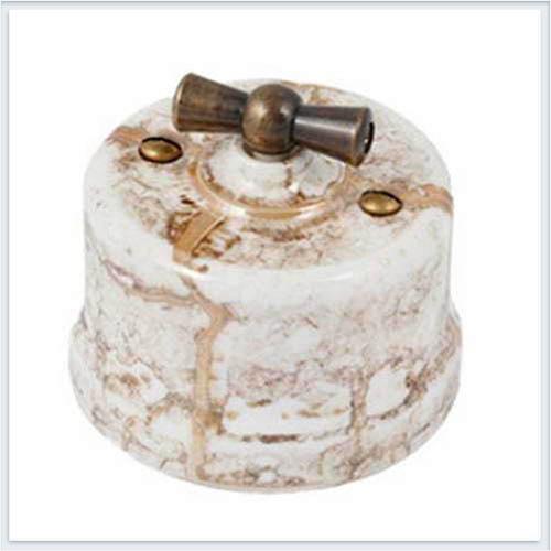 Bironi выключатель 1-кл. проходной фарфор, декор мрамор B1-201-09