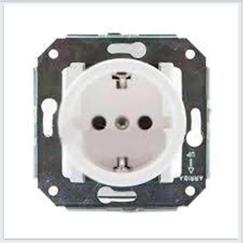 Bironi розетка с заземляющим контактом, цвет белый, Коллекция шедель B3-101-21