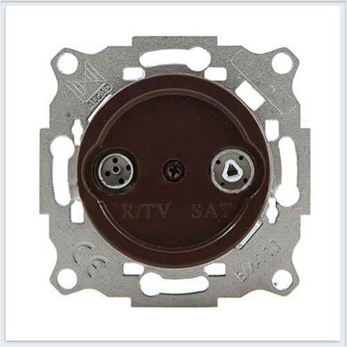 Bironi Механизм R/TV-Sat проходная, цвет коричневый Коллекция шедель B3-304-22