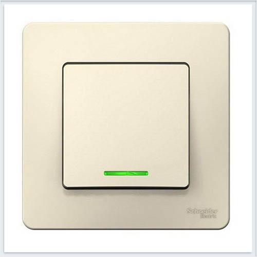 Blanca Молочный Выключатель 1-клавишный с подсветкой, 6А, 250B