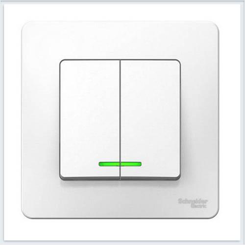 Blanca Белый Выключатель 2-клавишный с подсветкой, 6А, 250В