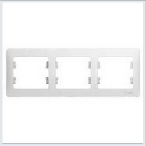 Рамка 3-я, горизонтальная Glossa Белый GSL000103
