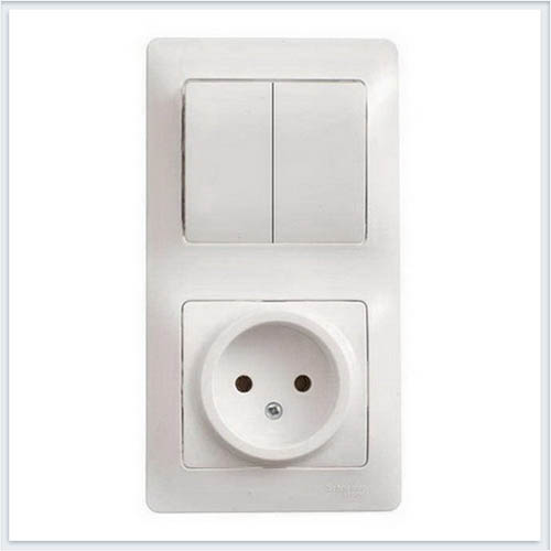 Блок: розетка и 1-кл. выключатель Glossa Белый GSL000160