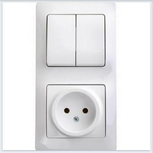 Блок: розетка и 2-кл. выключатель Glossa Белый GSL000172