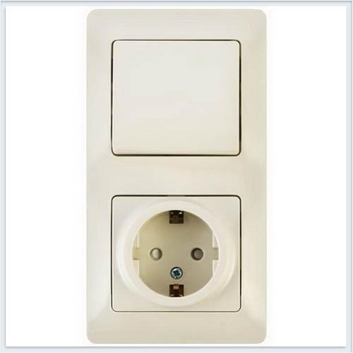 Блок: розетка с заземлением со шторками и 1-кл. выключатель Glossa Бежевый GSL000270