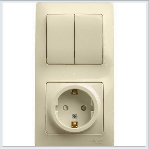 Блок: розетка с заземлением со шторками и 2-кл. выключатель Glossa Бежевый GSL000274
