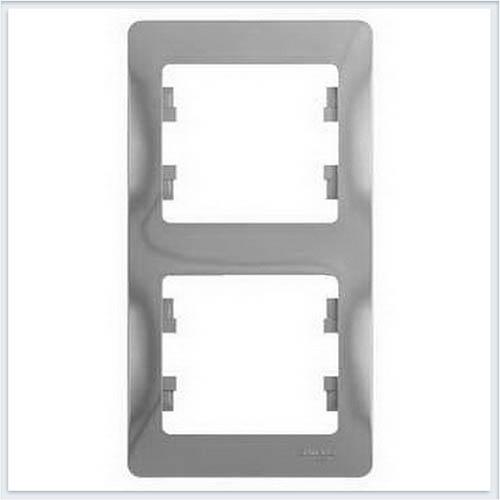 Рамка 2-я, вертикальная Glossa Алюминий GSL000306