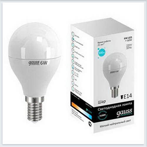 Лампа светодиодная шар 6W E14 4100K gauss Elementary 53126 - купить лампу