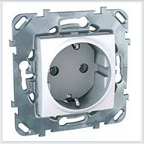 Розетка 1-ая с с заземлением винт. зажим цвет Белый Schneider-Electric Unica - MGU5.036.18ZD