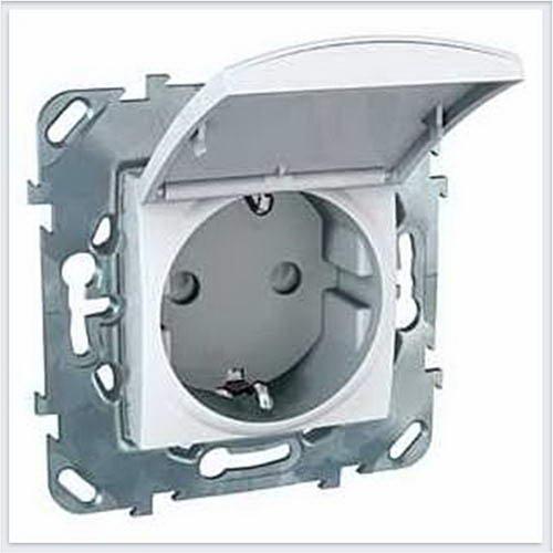Розетка 1-ая с заземлением, с крышкой и защитными шторками цвет Белый Schneider-Electric Unica - MGU5.037.18TAZD