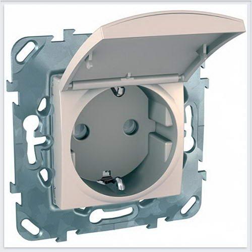 Розетка 1-ая с заземлением, с крышкой цвет Бежевый Schneider-Electric Unica - MGU5.037.25TAZD
