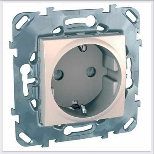 Розетка с заземлением со шторкиами цвет Бежевый Schneider-Electric Unica - MGU5.057.25ZD
