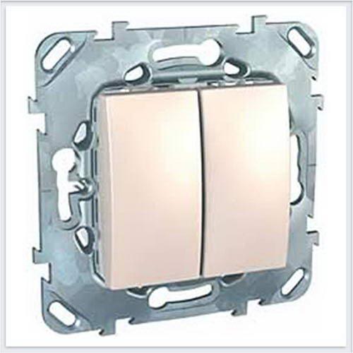 Выключатель 2-клавишный цвет Бежевый Schneider-Electric Unica - MGU5.211.25ZD