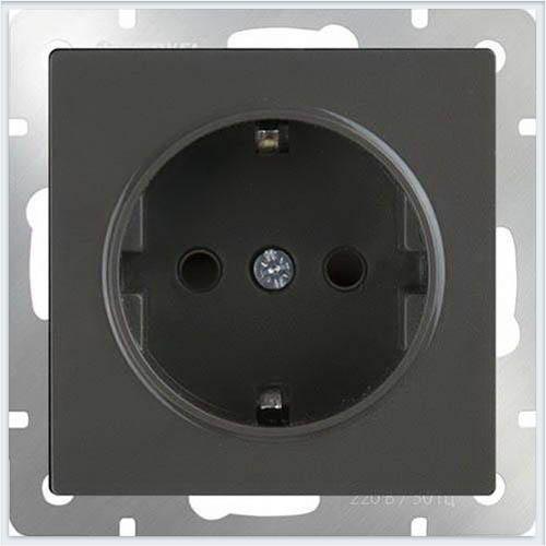 Werkel WL08-SKG-01-IP20 Розетка с заземлением черный матовый