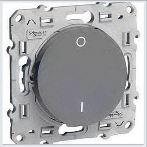 Выключатель 2-полюсный 16А Алюминий Schneider-Electric Коллекция Odace арт. S53R262