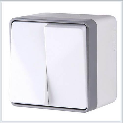 Werkel WL15-03-02 Выключатель двухклавишный влагозащищенный Gallant белый
