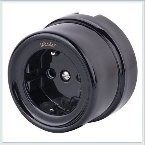 Werkel WL18-03-01 Розетка с заземлением черный Ретро