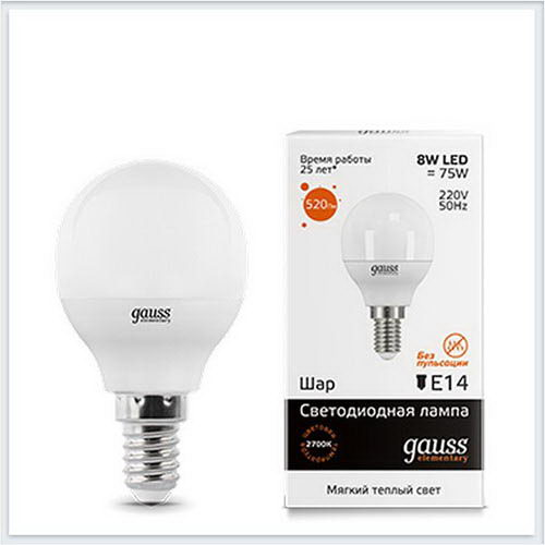 Лампа светодиодная шар 8W E14 3000K gauss Elementary 53118 - купить лампу