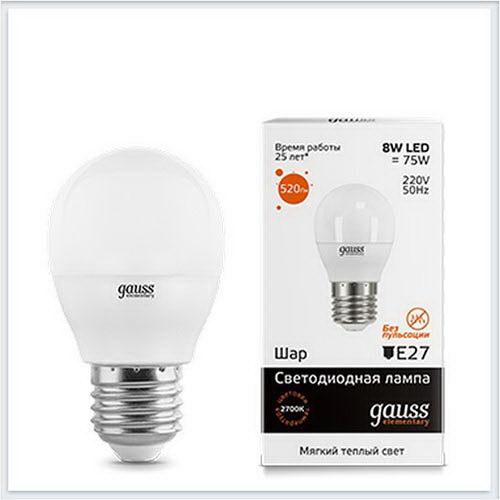 Лампа светодиодная шар 8W E27 3000K gauss Elementary 53218 - купить лампу