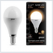 Лампа светодиодная шар E14 6.5W 2700K gauss 105101107 - купить лампу