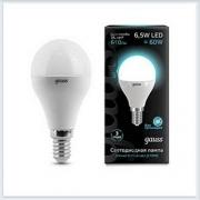 Лампа светодиодная шар E14 6.5W 4100K gauss 105101207 - купить лампу