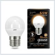 Лампа светодиодная шар E27 6.5W 2700K gauss 105102107 - купить лампу