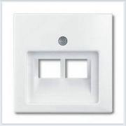 Накладка 2-ой ТЛФ/комп розетки наклонной белая ABB Basic 55 1803-02-94-507
