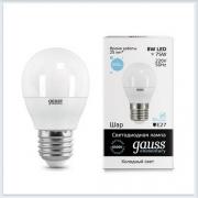 Лампа светодиодная шар 8W E27 6500K gauss Elementary 53238 - купить лампу