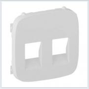 Накладка для аудиорозетки с пружинными зажимами двойной Белая Valena Allure 755375
