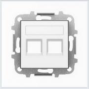 АББ - ABB - Sky - Скай - Лицевая панель - Центральная плата - Накладка для телекомунникационной розетки - Компьютерной розетки - Накладка - вставка - механизм для коммуникационных устройств - 2CLA851820A1101