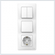 Blanca Белый Блок:Розетка з/к шт 16А, 250В + выкл 1кл.с подсветкой + выкл 2кл.