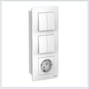 Blanca Белый Блок:Розетка з/к шт 16А, 250В + выкл 2кл.с подсветкой + выкл 2кл.