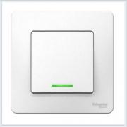 Blanca Белый Выключатель 1-клавишный с подсветкой, 6А, 250B