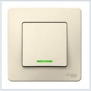 Blanca Молочный Выключатель 1-клавишный с подсветкой, 10А, 250B